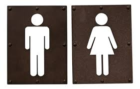bathroom boy sign. boy and girl bathroom signs wall plaques set of two metal 10.5 inches sign