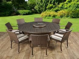 roma 8 rattan garden chairs large round table and lazy susan set in chocolate and