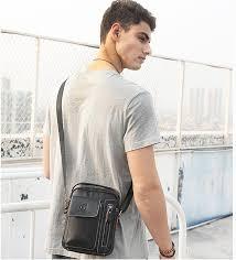 <b>Genuine Leather men's</b> Crossbody bag Vintage <b>cow leather</b> man ...