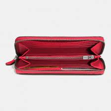 Women s Coach accordion zip wallet in glovetanned leather dark gunmetal red  ...