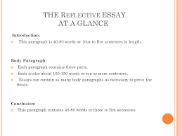 r eflective e ssay freshmansenior essay  consider the following  the r eflective essay at a glance introduction this paragraph is   words