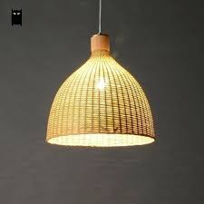 woven lamp shade hand woven bamboo rattan round basket lampshade pendant light fixture rustic country style woven lamp shade