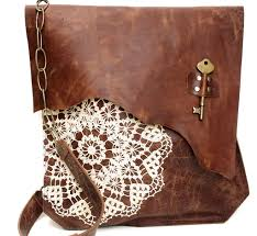 boho leather messenger bag with crochet lace antique key xl deluxe made to order