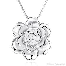 whole romantic rose flower necklace pendant fashion 925 sterling silver chain necklace women fine jewelry sweet gifts korea style best gift heart