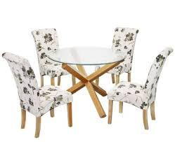 glass and wood dining table. Ophelia Round Glass Dining Table And Jeyda Chairs Wood
