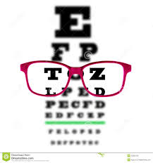 Blurry Eye Test Chart Eye Vision Test Chart Seen Through Eye Glasses White