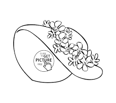 Pretty Summer Hat Coloring Page For Girls Printable Free Coloing