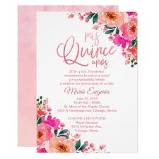 Invitation Quincenera Quinceanera Invitations Spanish Hot Pink Floral