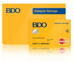 bdo kabayan savings card and pbook