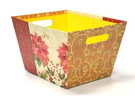 Flower Printed Paper Hot Item Flower Printed Paper Storage Box With Handle
