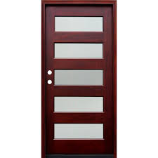 contemporary 5 lite reed stained mahogany wood prehung front