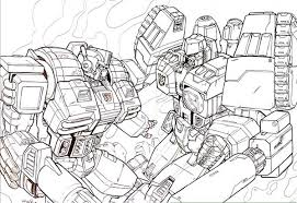 Small Picture Optimus Prime vs Megatron Coloring Page NetArt
