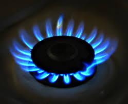 propane burning on stove