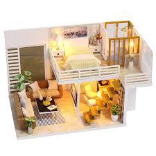 diy miniature wooden doll house furniture kits toys handmade craft miniature model kit dollhouse toys gift for children wooden dolls houses miniature