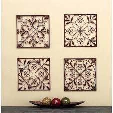 metal wall art leaves scroll decor set of 4 iron and ideas for small bathroom