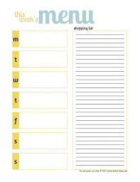 Cute Weekly Menu Planner And Shopping List Free Printable On Her