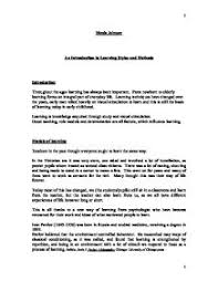 an introduction to learning styles and methods a level page 1