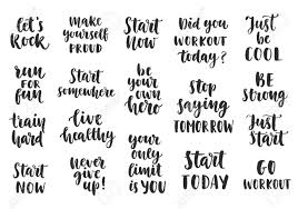 Inspirational Quotes For Today Gorgeous Set Of Sport Inspirational Quotes On White Background Brush