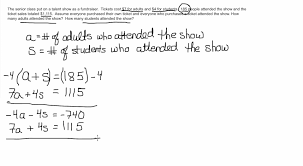solving systems of equations word problem practice