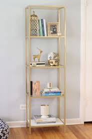 breathtaking ikea narrow bookcase billy bookcase hack gold metal bookcase  with books and decorations