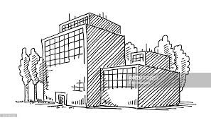 office drawing. business office building drawing : vector art