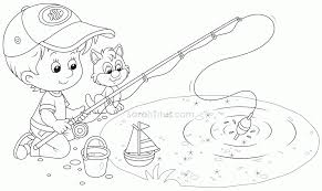 Small Picture Coloring Pages Boy Fishing Coloring Page Coloring Home Fishing