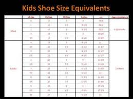 Size Chart For Shoes Toddler Childrens Shoe Size Chart
