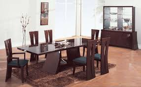brown zebrano high gloss finish contemporary dining room with remarkable contemporary dining table
