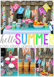 Hello Summer party ideas, games & printables | Love the bright colors for a  sunny