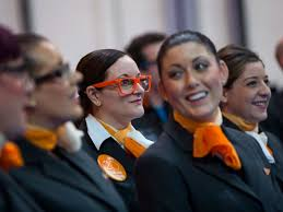 easyjet employees attend a media event to celebrate 20 years in business at luton airport