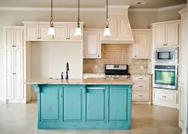 Distressed Kitchen Cabinets Distressed Turquoise Island With Cream Glazed Cabinets Stone