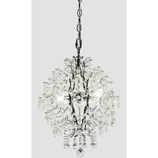 rd allure 13 in 3 light polished chrome crystal globe mini chandelier