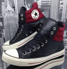 converse all star mens padded collar high top boot leather red and black