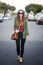 (summer/fall) olive green jacket, red plaid shirt, black pants,