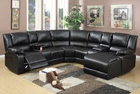 joshua black leather recliner sectional sofa 1 jpg