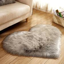 cilected gray rose white heart shaped faux fur rugs and carpets for home living room bedroom fluffy mat super gy plush d19011201 carpet