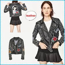 zara 2017 ss stripes casual style studded leather biker jackets