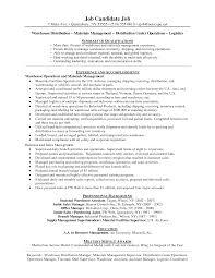 Distribution Manager Sample Resume 19 Warehouse Resumes Warehouse