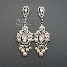 luxury chandelier bridal earrings rhinestone pearl wedding by xinxinemin for chandelier earings