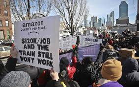 protesters rally against the proposed amazon headquarters getting subsis to locate in long island city queens ap photo bebeto matthews