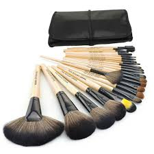 big 24 pcs professional makeup brushes set tools make up toiletry kit natural wood