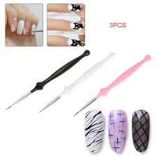 <b>3pcs Nail</b> Art Liner Painting Pen 3D DIY Acrylic <b>UV Gel Brushes</b> ...