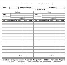 Sample Football Score Sheet 12 Documents In Pdf