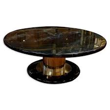 mid century modern black marble lacquer and chrome round coffee table by kodner galleries bidsquare