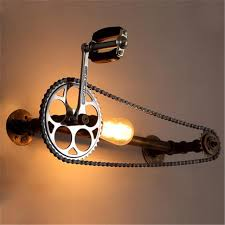 industrial pipe lighting. Bicycle Gear Wall Lamps Industrial Style Iron Art Light Loft Cafes Corridor Retro Water Pipe Lamp LOFT Lights Lighting