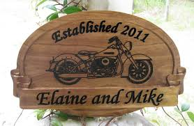 Harley Davidson Signs Decor Personalized Family Sign With Harley Davidson Carve Motorcycle 12