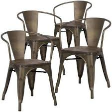 cantina bronze arm chair with elm wood seat set of 4