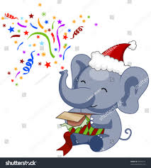christmas elephant clip art. Unique Christmas Elephant Opening Christmas Gift  Vector Throughout Clip Art L