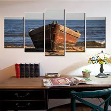 5 panel wooden boat canvas painting sea landscape home decor wall art for living room posters on wood boat wall art with 5 panel wooden boat canvas painting sea landscape home decor wall