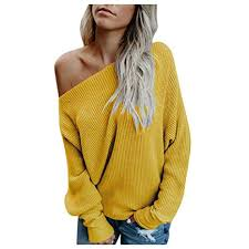 Womens Loose Knitted Off The Shoulder Pullover ... - Amazon.com